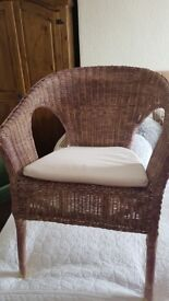 Shabby chic painted wicker chair with pad