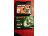 BOSCH jigsaw and Black Decker drill