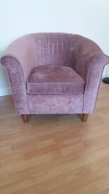 LARGE COMFY CHAIR PINK CRUSH VELVET IN GOOD CONDITION