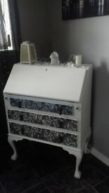 Shabby Chic writing bureau..could be used as dressing table.
