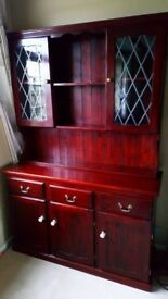 SOLID PINE LARGE GLAZED KITCHEN DRESSER IN GOOD USED CONDITION IDEAL UP-CYCLE PROJECT FREE DELIVERY