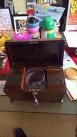 magnificent old vintage collectible rosewood tea caddy