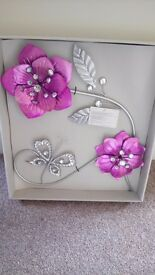 Purple and chrome flowers wall art