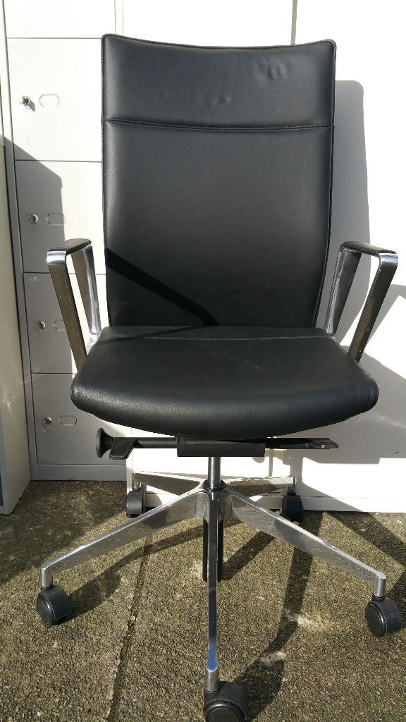 Girsberger Black Leather Chrome Office Desk Chairs