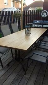 Wonderful Industrial Style 8 ft Dining Table Excellent In Doors or out