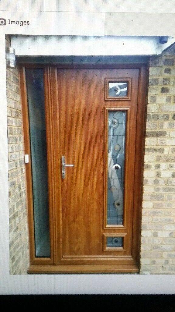 Upvc Oak Doors With Side Window Front Door Excellent Condition 2 Years