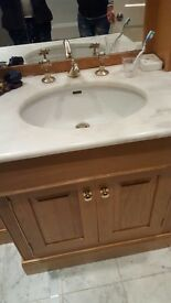 This lovely vanity unit is made of real wood, with marble surround, it measures W163 L206 D53cm.
