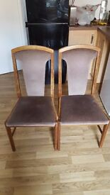 MUST GO 2 x Beech Wood Upholstered Dining Table Chairs Made by E.S.A & McIntosh LTD 1993