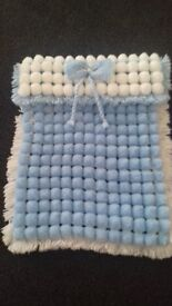 Blue and White Baby Pom Pom Pram Blanket