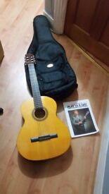 Hokada 3165 Full Size Classic 6 String Acoustic Guitar GOOD CONDITION plus book