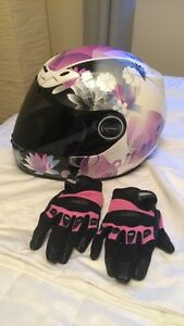 Women's Scorpion Full Face Motorcycle helmet & Icon gloves