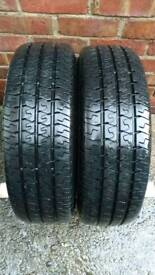 2 X 195 70 R15C FORD TRANSIT WHEELS, TYRES 10 MM TREAD DEPTH,VERY GOOD CONDITION