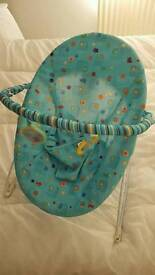 Bright starts blue animal print vibrating bouncer chair