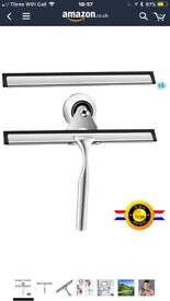 Qimh Stainless Steel Squeegee for Bathroom Mirror and Car Mirror Wiper,With Cup Hook