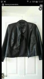 Brand new size 14/16 faux leather biker jacket coat