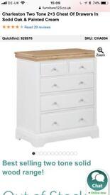 BRAND NEW Charleston cream wood and oak top chest of drawers