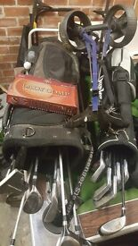 golf clubs, bags ,balls ,trolley
