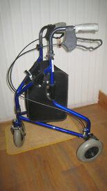 Three wheel light weight folding walking frame
