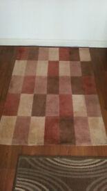 "Carpet / Rug Chequered Brown/Cream/Beige 170cm/67"" x 120cm/47"""