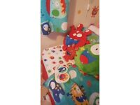 Kids little monsters bedroom set. Includes 2 single bedset, curtains, light and clock.