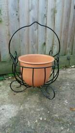 Terracotta plant pot with stand - free delivery