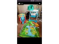 Baby essential bundle highchair, carseat, bumbo, bouncy chair, play gym, changing mat