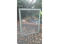 Complete heavy duty galvanised steel mesh single leaf gate with posts, hinges and lockable latch