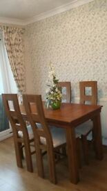New Solid Oak Dining table & 4 chairs