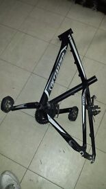 """Specialised bike frame black with dx pedals 15"""" good condition"""