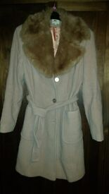 Oasis Wool Coat with Fur Collar - Size 10