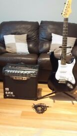 LINE 6 SPIDER 3 15 AMP PLUS KCC ELECTRIC STRAT STYLE GUITAR PLUS STAND