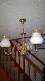 2 x brass 3 arm ceiling lights with glass shades