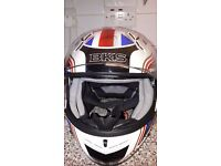 "BKS union jack motorbike helmet, size, 63-64cm ""XXL"" reduced to £30"