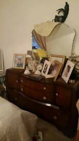 Matching mahogany dressing table and double wardrobe. Excellent condition