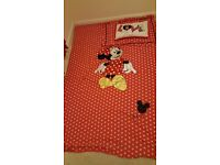 Mickey mouse single bedding set and curtains