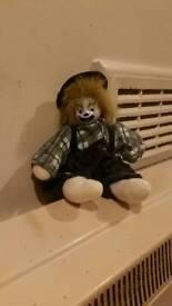 Porcelain face clown doll ornament