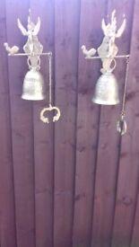 2 Antique Matching Brass Bells