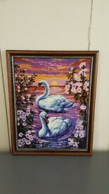 Framed Tapestry picture 'Swans at Sunset'
