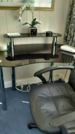 Smoked glass computer table and office chair