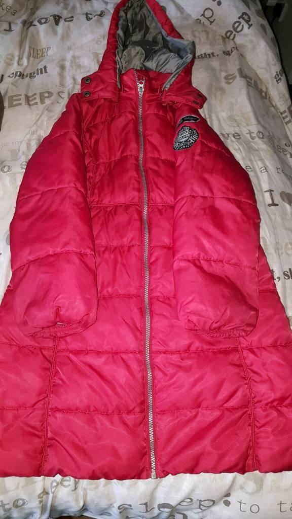 Girls long padded jacket 8-9 years