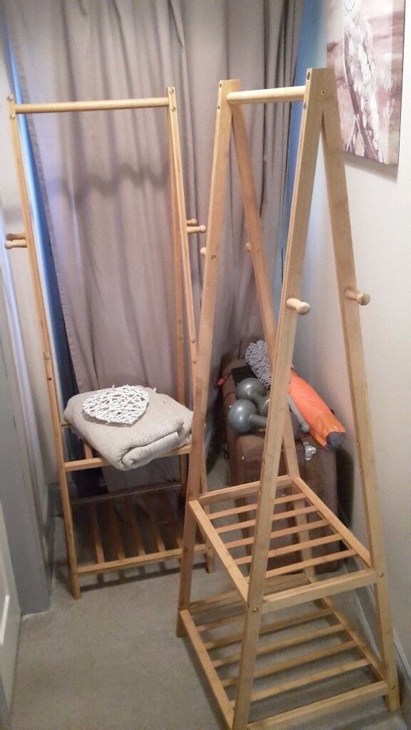 2x bamboo clothing rail/organisers with shelves and coat hooks