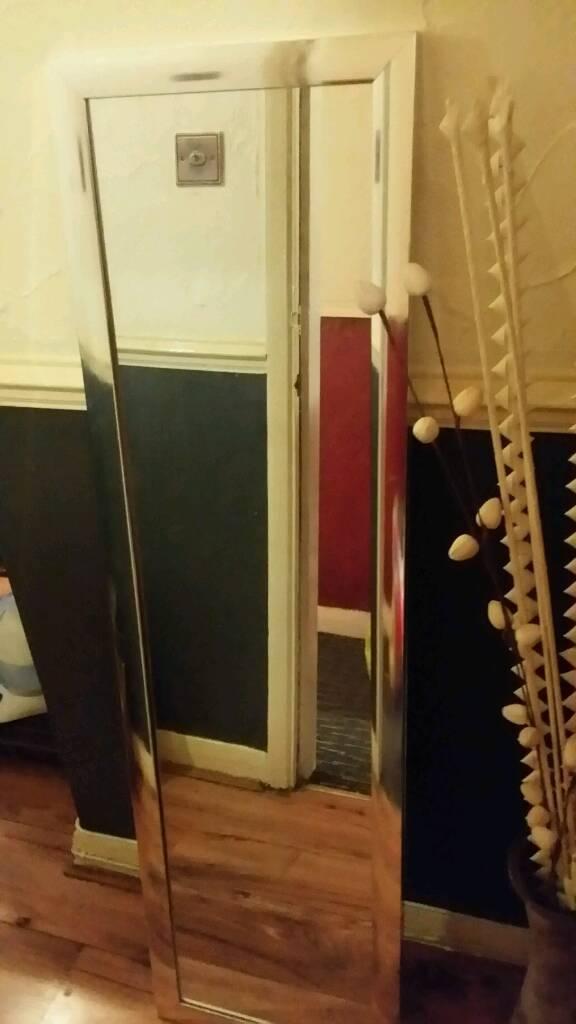 Large chrome framed mirror £7