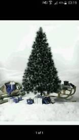 7ft Black Bushy Glitter Xmas Tree