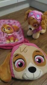 Build a bear Sky toy dog with clothes, cushion + bag