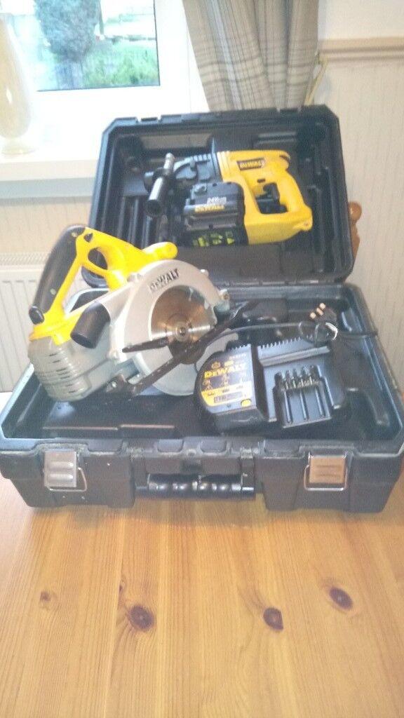 used dewalt 24v cordless tools set drill circular saw batts