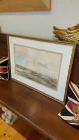 original painting by Walter Holmes, mouth of the tyne