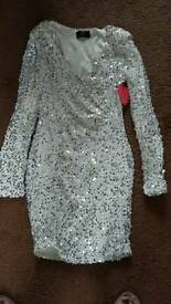 CREAM AND SILVER SPARKLE DRESS SIZE 10