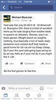 Yard Sale July 4th 35 Briarcroft rd. Brampton ON