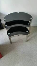 Black glass nest of tables good condition