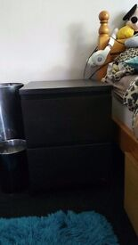 Ikea malm black chest of drawers and bedside drawers